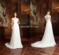 Hot sale Bateau lace short sleeve sweep train A-Line Wedding Dresses wonderful chiffon long Bridal Dresses covered button  gown