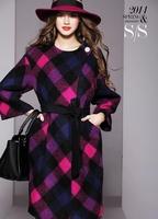 2014 Winter New European style simple wool coat woolen coat long section Girls NDX151 Y9W