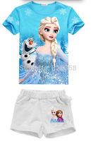Retail Baby girls Frozen clothing set,kids princess Elsa Anna Olaf T-shirt+short pant 2pcs set/Children Summer short sleeve suit