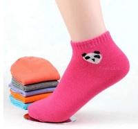 20pcs=10pairs/lot autumn soks 2014 Thin Socks for women Candy color panda print cartoon Brand Socks Women Colorful Women's Socks