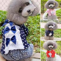 Small Pet Dog Clothes Dots Bowknot Lace T-shirt Crown Pattern Shirt