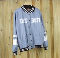 2014 New Harajuku European style baseball uniform female cardigan sweater jacket baseball shirt letter DETROIT print hoodie coat