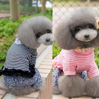 Small Dog Cat Pet Stripe Lace Cotton Shirt Puppy Clothes Coat Top