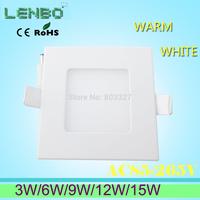 3W 6W 9W 12W 15W AC85~265V  white/warm white LED Ceiling LED Downlights Square Panel Lights Bulb SMD2835 High Quality