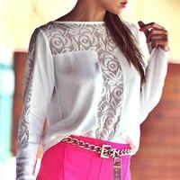 Fantastic 1PC Women Lace Crochet Embroidery Shirt Chiffon Blouses Tee Shirt Tops Feida