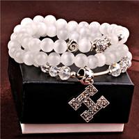 Natural opal crystal agate bracelet fashion jewelry letter H Jewelry fashion women men jewelry gift for best friends 0268
