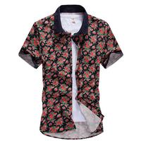 Plus Size M L XL 2XL 3XL 4XL 5XL 2014 Men Shirt Floral Casual Slim Shirts Beach Men's Cotton Short Sleeve Hawaiian Shirt AX874