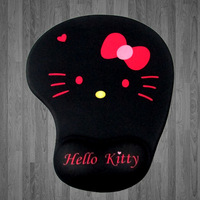 With Wrist Rest Mousepad FREE SHIPPING Japan Anime Kawaii Cute Cat Cartoon Print Pink Black Hello Kitty Mouse Pad For Computer