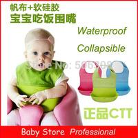 2014 New Arrival Infant Waterproof Foldable Health Silicone Bib Feeding Saliva Bib Freeshipping&Wholesale