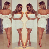 European and American 2014 autumn newest fashion sexy nightclub package hip strapless lace dress white bandage dress