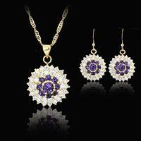 purple round woman 18k GP party birthday Xmas cubic zircon topz amethyst  Necklaces & Pendants Earring bridal jewelery sets gift