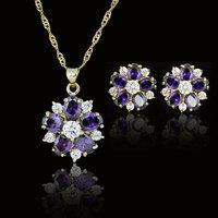 purple flora woman 18k GP party birthday Xmas cubic zircon topz amethyst  Necklaces & Pendants Earring bridal jewelery sets gift