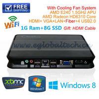 Mini Desktop Tiny PC Thin Client  CPU AMD E240 1.5Ghz With 1G Ram 8G SSD 1*Fiber 1*HDMI 1*VGA 1* RJ45 4*USB2.0 Optional Wif UMPC