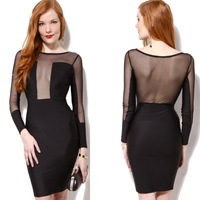 European and American 2014 autumn newest  fashion sexy nightclub long-sleeved black perspective gauze bandage dress