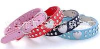 Free Shipping 10pcs/lot Glossy hearts double diamond jewelry dog collar chain dogs and cats
