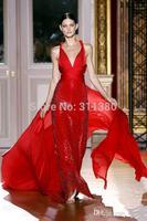 2014 Zuhair Murad Chiffon Spaghetti V-neck Sexy Sequins Sleeveless Beads Backless Floor-length Pageant Prom Dresses Custom Made