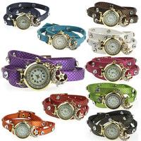 Fantastic Generous Elegant Leather Bracelet Star Moon Pendant Wrap Wrist Watch Feida