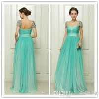 2014 Fascinating Sexy Cap Sleeve Formal Gown Crystal Beaded Empire Waist Backless Floor Length Chiffon Long  Green Prom Dresses