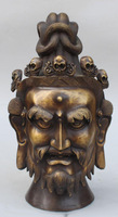 "14""Chinese Tibetan Buddhism Pure Bronze Lama God Buddha & Skull Head Bust Statue"