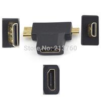 5pc Gold-plated plug  HDMI femaleTO the MINI HDMI male MICRO HDMI  male Connectors   A female --Cmale- D male converter 1080p