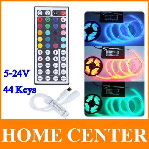 2PCS DC 5-24V 44 Keys Wireless IR Remote RGB LED Mini Controller Dimmer for LED Strip 5050 3528 34 modes Free Shipping(China (Mainland))