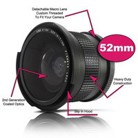 NEW 52mm 0.35X Wide Fisheye Lens with Bag for Canon Nikon Sony Pentax 52mm DSLR Camera