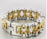 The new gold silver man thick heavy chain titanium steel bracelet