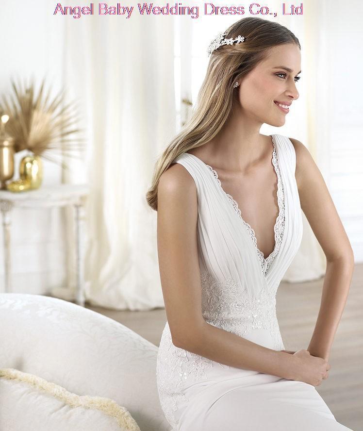 Tailor MadeWholesaleSexy Lady V Neck Appliques Chiffon Bridal Dress Floor Length Vestido De Noiva Wedding Gowns Custom MadeCusto(China (Mainland))