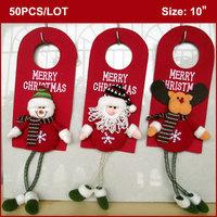 """50pcs """"MERRY CHRISTMAS"""" Doorknob Hangers, 10 inch, Xmas Door Hangers Decoration-Santa Snowman Reindeer Set of 3 WHOLESALE"""