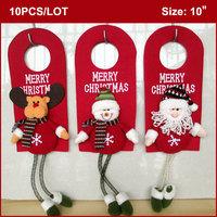 "10pcs ""Merry Christmas"" Plush Hanging Door Decoration 10"" (Santa, Snowman, Deer with Spring Legs, set 3) WHOLESALE FREESHIPPING"