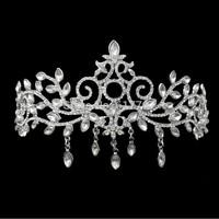 Free Shipping White K Crystal Tassel Drop Large Tiara Wedding Hair Accessories Christmas Gift HG125