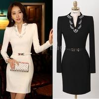 Spring-Autumn Plus Size Beading OL Work Dress For Women Diamonds Slim Long-sleeve Party Evening Vestidos With Belt M~XL
