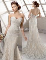 New Strapless Sweetheart Neck Applique vestido de noiva 2014 A-Line Tulle Custom Made Formal Long Brial Wedding Dress