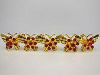 60 Pcs/lot Gold Butterfly Red Crystal Rhinestone Wedding Bridal Women Hair Pins