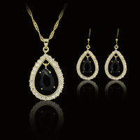 woman black 18k gold plated birthday Xmas cubic zirconia CZ diamante Necklaces & Pendants Earring bridal jewelery sets gift