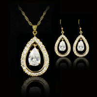 white water dorp 18k gold plated birthday Xmas cubic zirconia CZ diamante Necklaces & Pendants Earring bridal jewelery sets gift