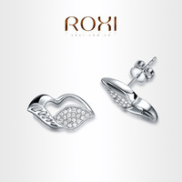 ROXI Love kiss Earrings platinum plated with AAA zircon fashion Environmental Micro-Inserted Jewelry