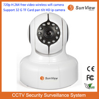 SunView 720p H.264 free video wireless wifi camera Support 32G TF Card pan tilt full HD ip camera cctv security system