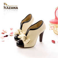 2014 Sapatos Femininos Selling Open Toe Zapatos Mujer Women Pumps Cute Bow Spell Color V Mouth And Bare Boots High Heels Shoes