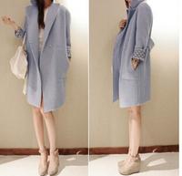 High Quality Casacos Femininos 2014 New  Brand Desigual Winter Coat Women Elegant Blue Loose Casual Long Wool Cashmere Coat