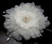 "5PX 4"" Blooming Silky white Flower Crystal parl Hair Clip Hair Pin wedding Bridal Bridesmaid Party"