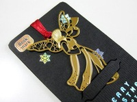 Creative metal bookmarks carving golden color angel Exquisite vintage stationery gift for party etc  Wholesale