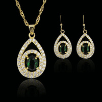 green amethyst  fashion 18k gold plated birthday Xmas cubic zircon CZ  Necklaces & Pendants Earring bridal jewelery sets gift
