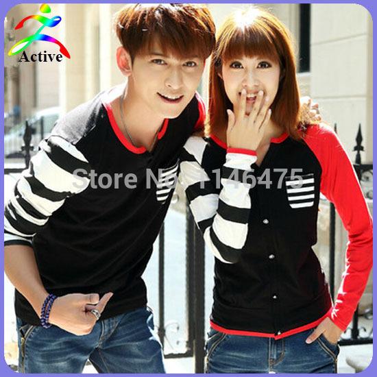 Hot Selling Autumn/Winter Couple Clothes Lovers Casual Men Women Fashion Matching Basic Shirts Cute Korean Couple T-Shirt Y1988(China (Mainland))