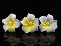 12Pcs Hawaiian Plumeria Foam White Pearl Flower Girl Prom Hair Pins