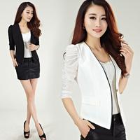 2014 New Autumn women formal blazer Coats Feminino Blaser Jackets Cardigan Lady Suit Office Work Wear Top White,Black