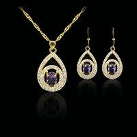 purple amethyst  fashion 18k gold plated birthday Xmas cubic zircon CZ  Necklaces & Pendants Earring bridal jewelery sets gift