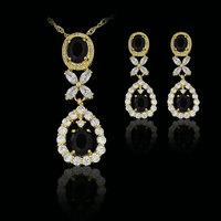black elegant  fashion 18k gold plated birthday Xmas cubic zircon CZ  Necklaces & Pendants Earring bridal jewelery sets gift