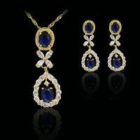 sea blue elegant  fashion 18k gold plated birthday Xmas cubic zircon CZ  Necklaces & Pendants Earring bridal jewelery sets gift
