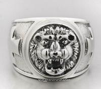 The lion roar 925 silver ring male